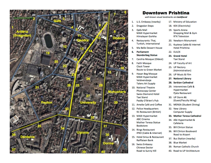 David McTier's Map of Downtown Prishtina