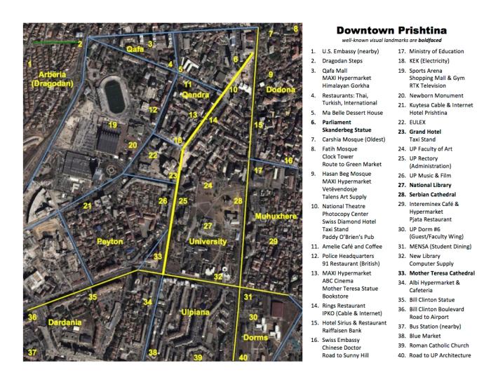 David McTier's Map of Downtown Prishtina